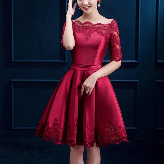7956bd6eb5c ... Купить товар 2016 самый элегантный вечерние платья с half рукава  короткие девушки женщины пром ну вечеринку