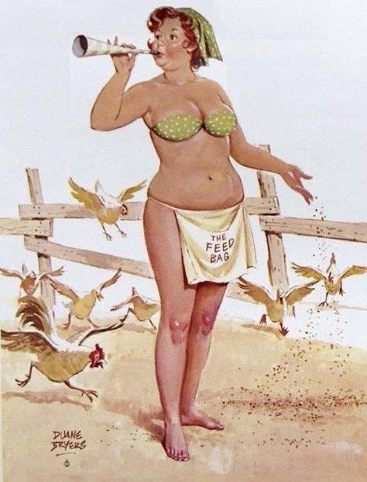 Художник Duane Bryers - Веселая Хильда Позитивно настроенный человек.  Атипичная королева пин-апа: позитивная и рыжеволосая толстушка Хильда  Чувственная, немного неуклюжая, но при этом абсолютно не стесняющаяся своей фигуры – такая она, героиня иллюстраций в стиле пин-ап, созданных Duane Bryers. Хильда, именно так зовут пышную барышню с картинок, - одна из немногих атипичных пин-ап королев, которая украшала страницы американских календарей в середине прошлого века. Итак, знакомьтесь с очаровательной Хильдой.  Источник: http://www.kulturologia.ru/blogs/140316/28768/