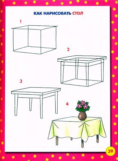 ее, рисунок поэтапно стол для детей синтетической ткани хорошо