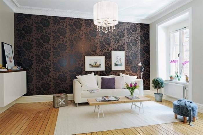 Сочетание цветов обоев в интерьере зала фото