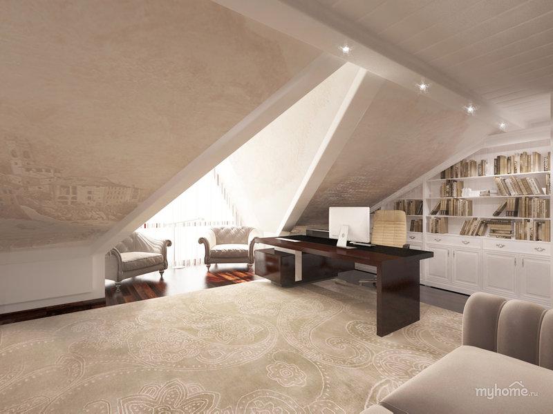 Домашний кабинет в современном стиле - Бежевого цвета (на мансардном этаже)