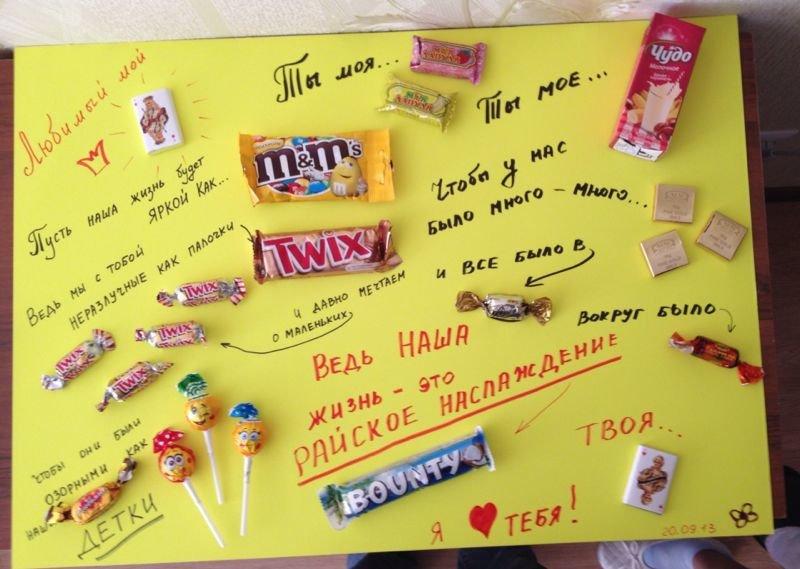 Открытка своими руками мужу на день рождения с конфетами