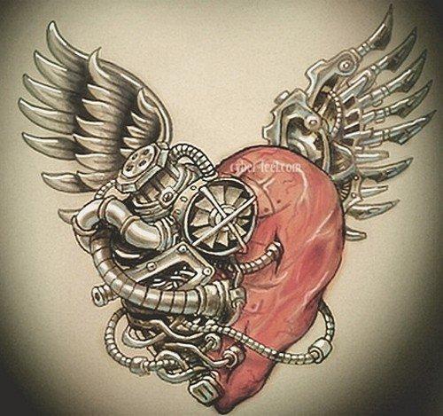 Татуировка Сердце С крыльями С кинжалом Значения 57 фото и эскизов