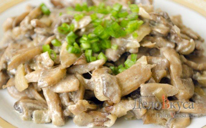 Жареные грибы со сливками рецепт с фото