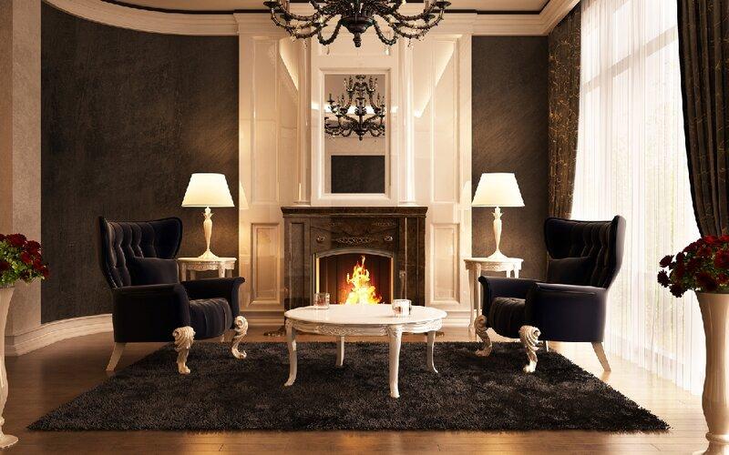 Добавят гостиной настоящего имперского очарования высокие напольные светильники в классическом стиле, с текстильными абажурами.