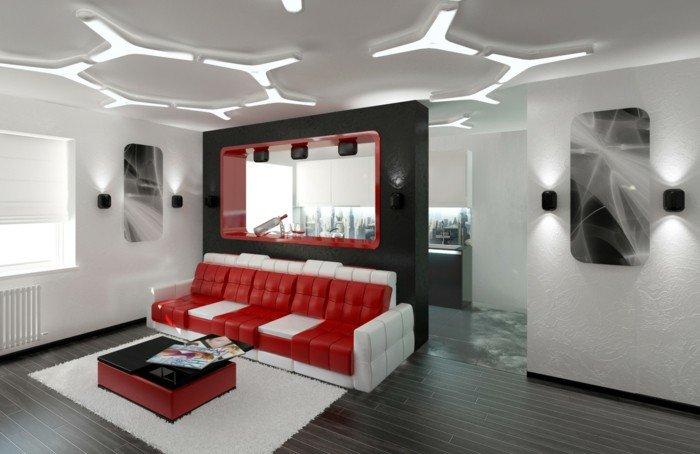 Белый, черный и красный - классическое беспроигрышное сочетание цветов. Интерьер в стиле хай-тек.