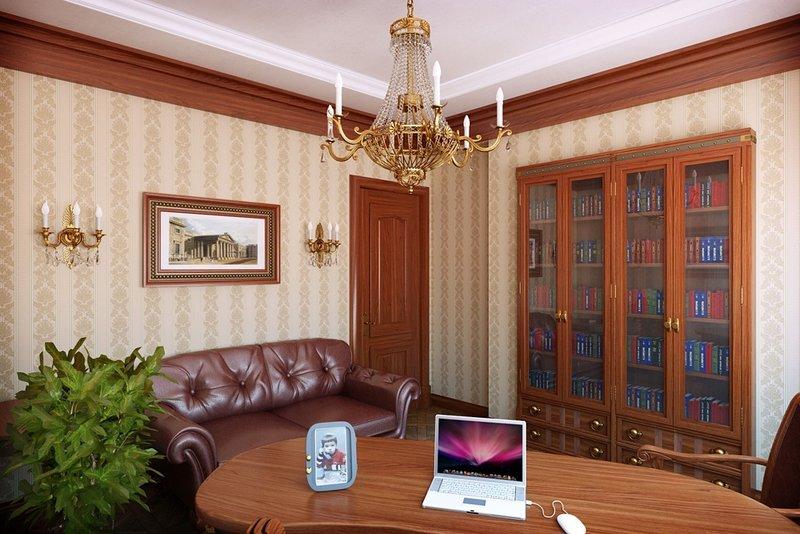 Кабинет в классическом стиле кожаным диваном