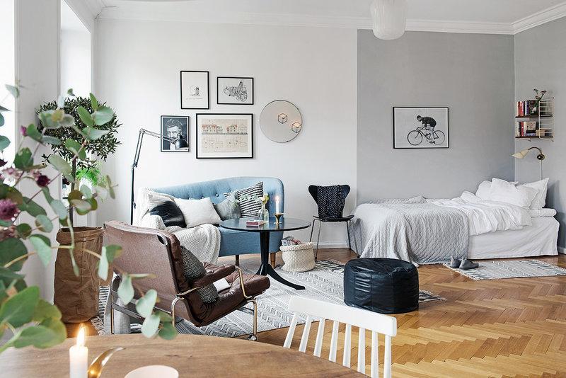 Интерьер малогабаритной квартиры студии в Гётеборге