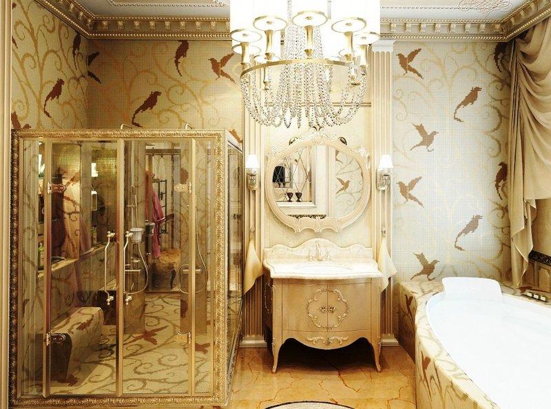 Имперская идея стиля ампир в ванной комнате может быть выражена в подражание формам искусства Рима, торжественным и нарочито парадным.