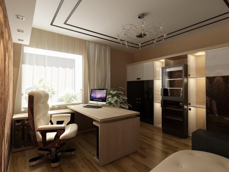 Дизайн домашнего кабинета - В современном стиле (бежевые цвета, широкое окно)