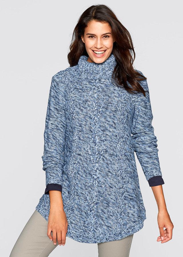 длинный свитер с высоким воротником