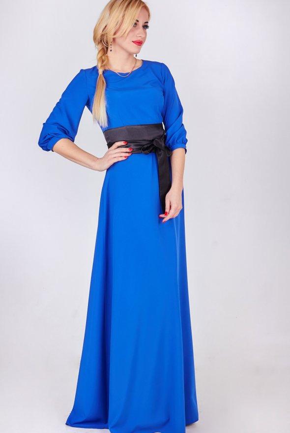 синие платья в пол фото считается