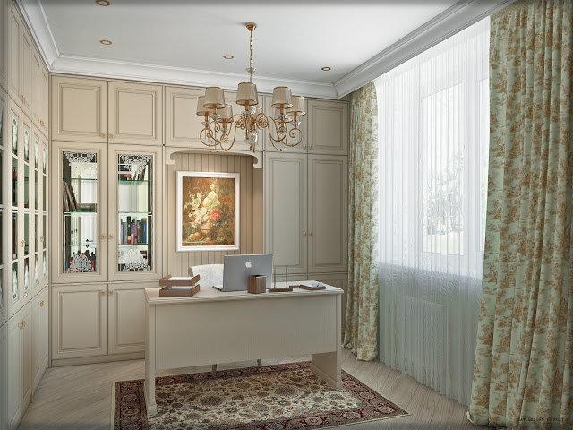 Вместимая светлая стенка для домашнего кабинета