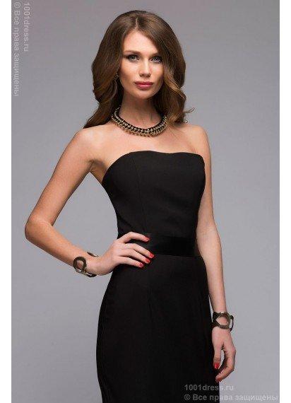 444257e935ac015 ... Черное платье-футляр с атласным поясом без рукавов купить недорого в  интернет-магазине dreamshowroom