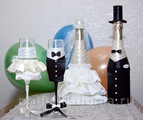 Украшение на шампанское для свадьбы своими руками фото 841