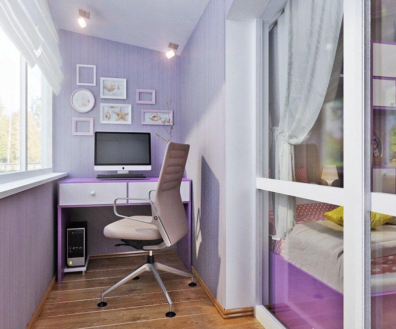 Интерьер домашнего кабинета - В нежно-светлом фиолетовом цвете