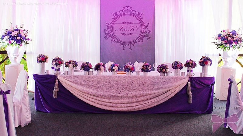 Украшение зала в фиолетовых тонах фото