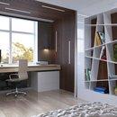 Домашний кабинет в современном стиле - Светлые тона и коричневая деревянная отделка