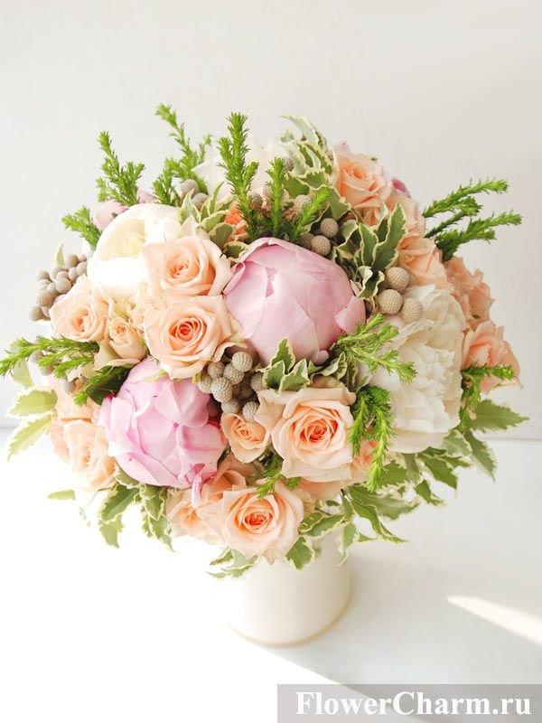 Какие цветы персикового букет, японии