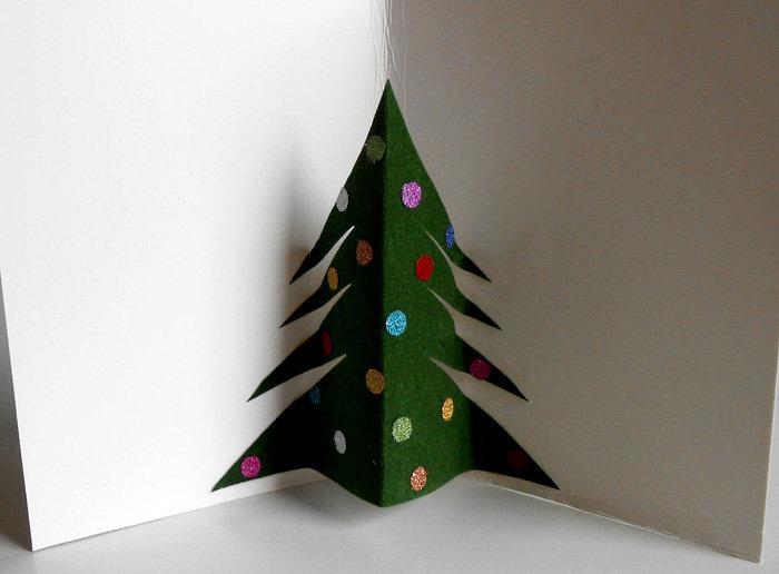 Раскрытая открытка в ней елка, открытки добрым утром
