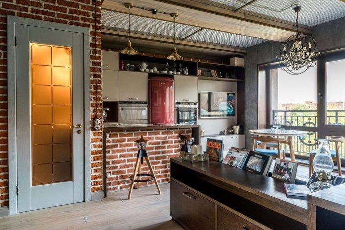 в интерьере маленькой квартиры студии в стиле лофт есть гостиная