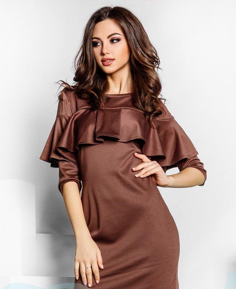 Платье с рюшами трикотажное