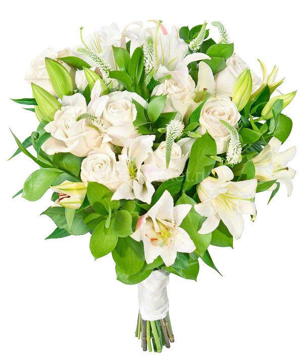 Букет белых роз и лилий, букет пионовидной