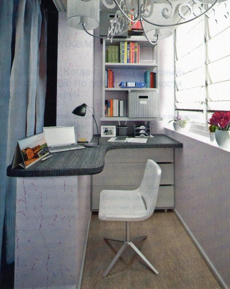 Дизайн кабинета на балконе