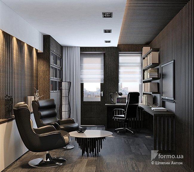 Интерьер домашнего кабинета - В современном стиле (в чёрный тонах)