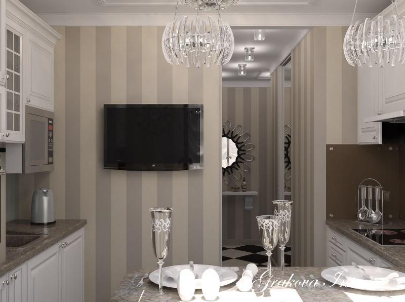 всегда кухня с полосатыми обоями фото шторки задних окнах