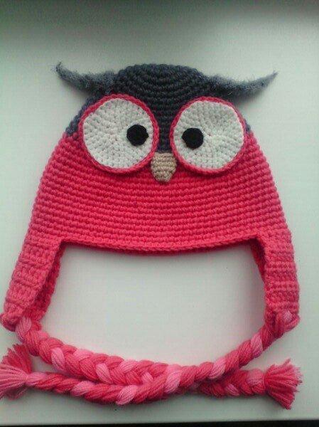 Вязанная шапочка-совушка