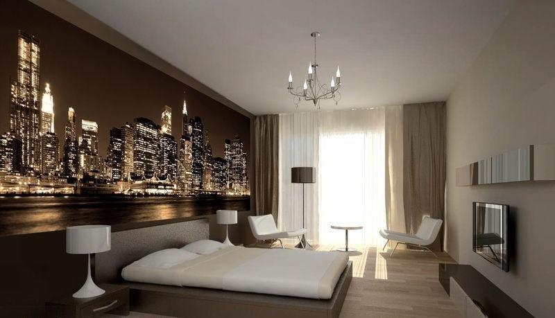 """Интерьер комнаты с фотообоями ночного города """" картинки и ..."""