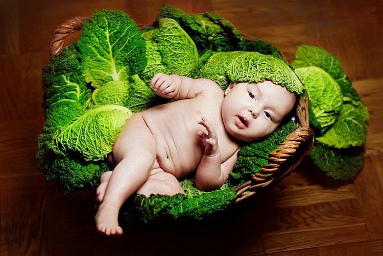 Открытка малыш в капусте