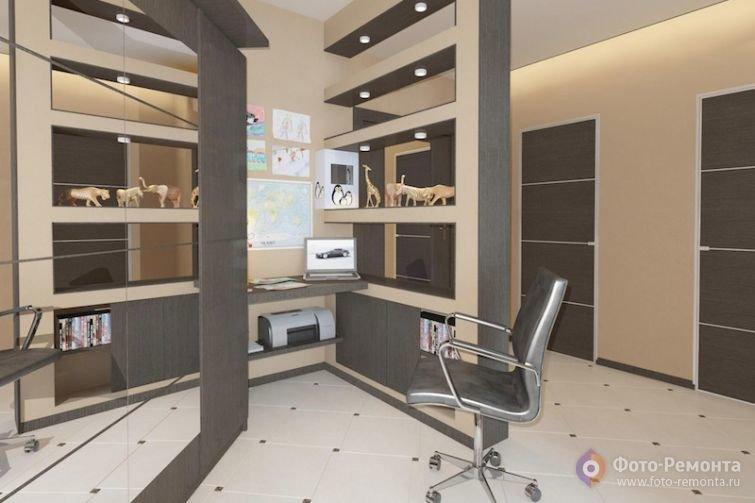 Домашний кабинет в современном стиле - Бежевые и серые цвета