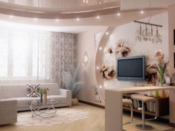 красивое оформление гостиной в квартире