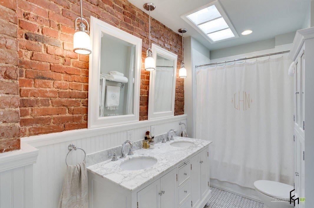 ванная под белый кирпич