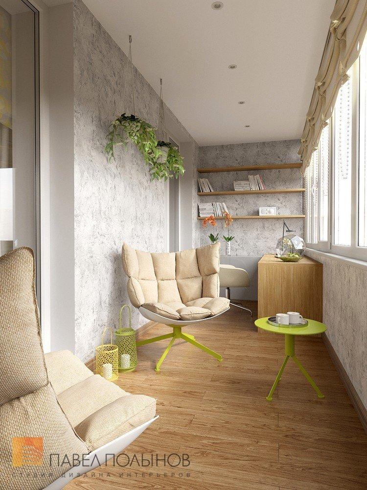 Интерьер лоджии (балкона) с креслами и кофейным столиком в к.