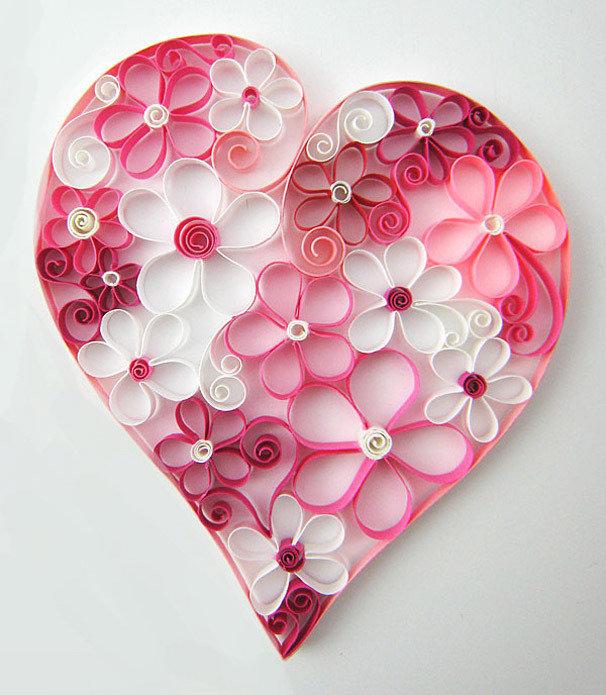 Анимационные марта, сердце на открытке в технике квиллинг
