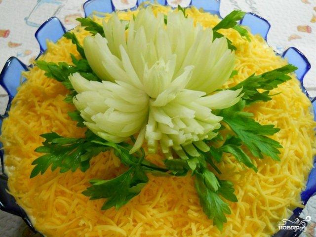 Праздничный салат хризантемы фото рецепт