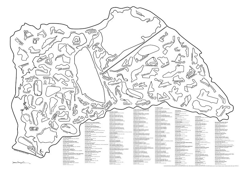 Гоночные трассы мира в масштабе - 95 Famous Race Tracks in one Epic Graphic