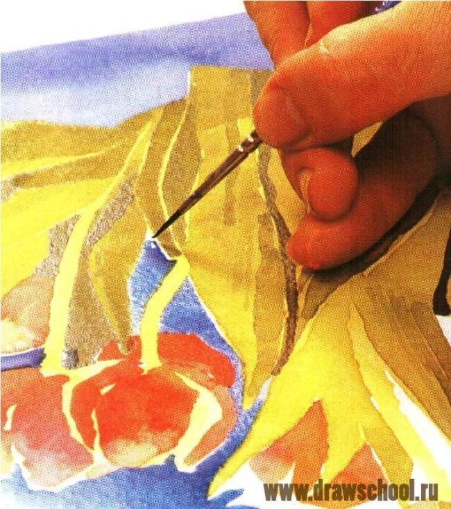 Как нарисовать букет тюльпанов акварелью