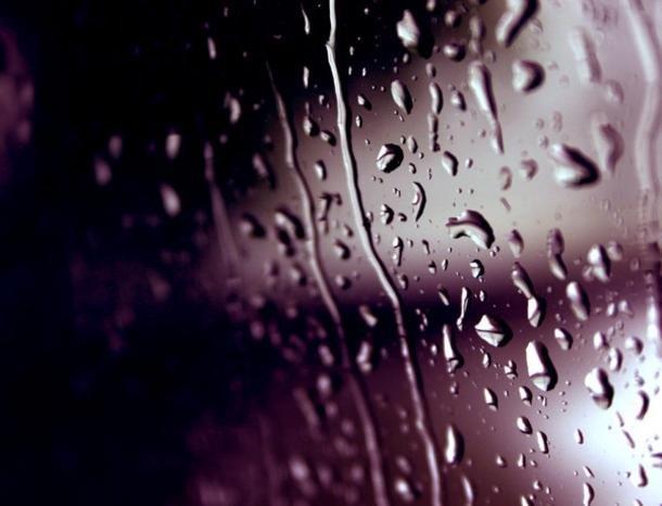 Он бился об по... окном шёл дождь