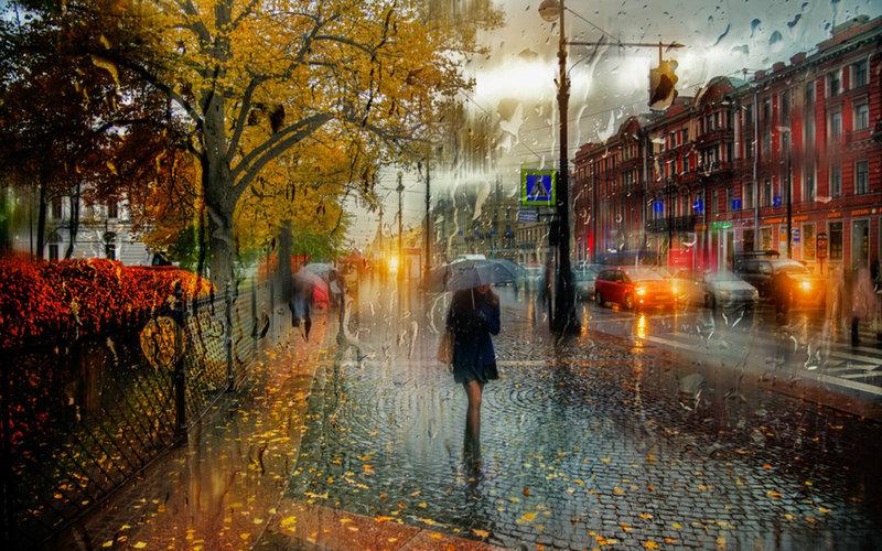 осень, город, улица, дождь, прохожие, зонтик