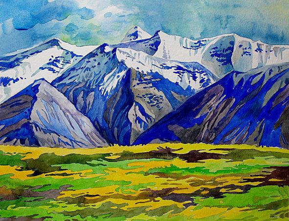 Рисуем горы акварелью поэтапно   Блог Алеси Лукьяненко