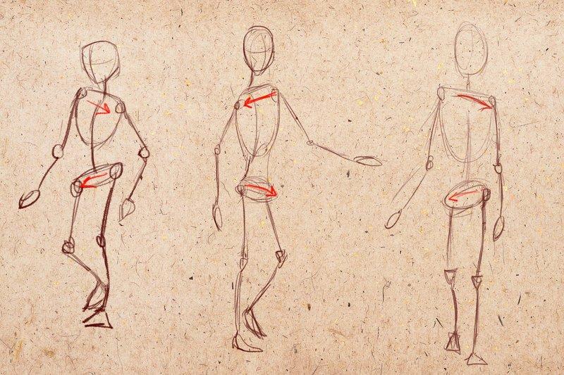 Рисунок идущего человека
