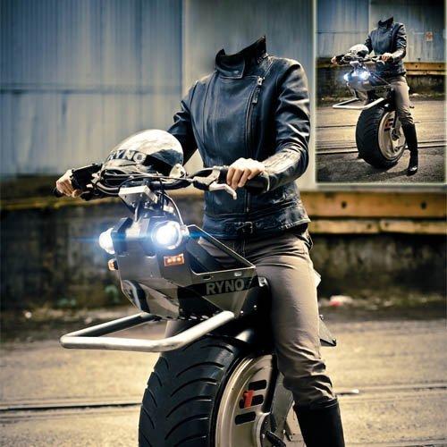 Женский шаблон для фотошопа - необычный мотоцикл