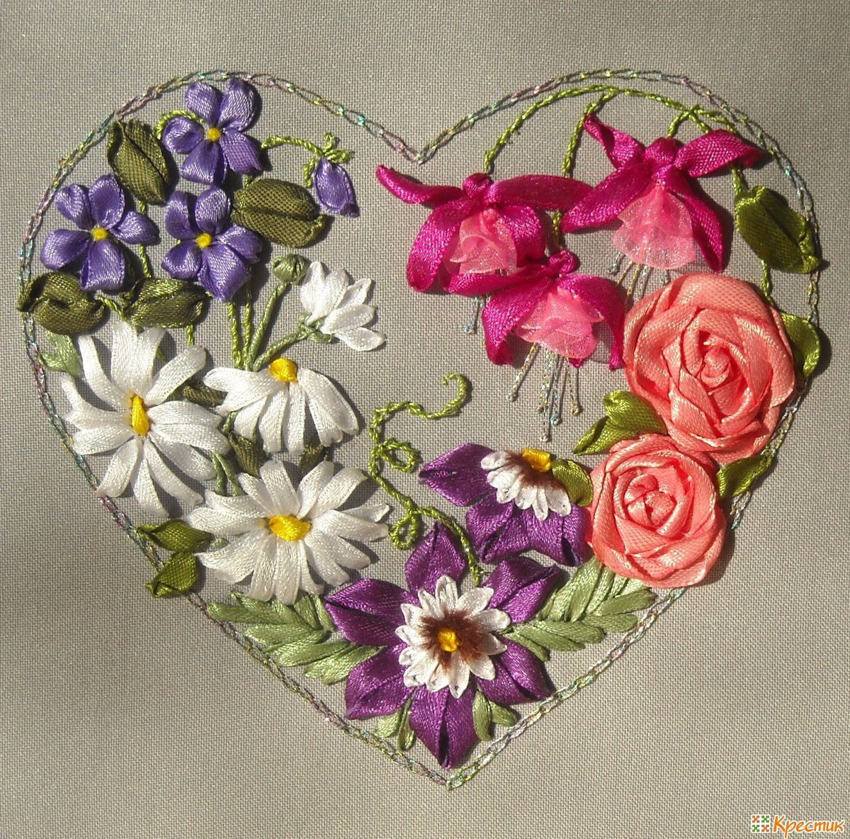 Открытки из атласных лент к 8 марта ромашки и розы