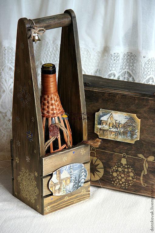 декупаж коробок для вина погоды Красном