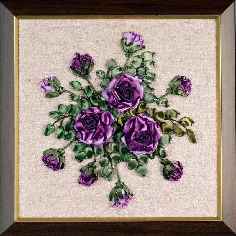 Сиреневые цветы вышивка