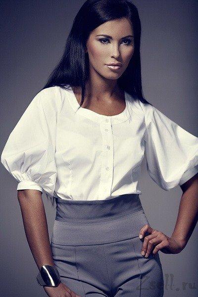 Белая рубашка с объемными рукавами Figl женская рубашка на каждый день